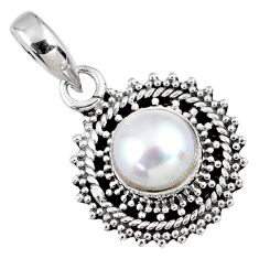 925 sterling silver 3.05cts natural white pearl round pendant jewelry r58089
