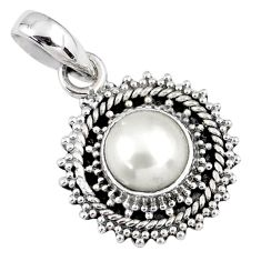 925 sterling silver 2.89cts natural white pearl round pendant jewelry r58090