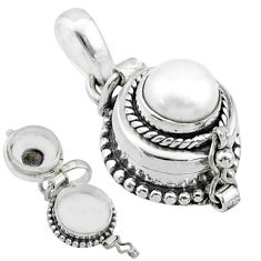 925 sterling silver 2.33cts natural white pearl round poison box pendant t52635