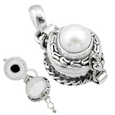 925 sterling silver 2.33cts natural white pearl round poison box pendant t52637