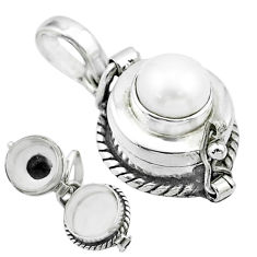 925 sterling silver 2.20cts natural white pearl round poison box pendant t52639