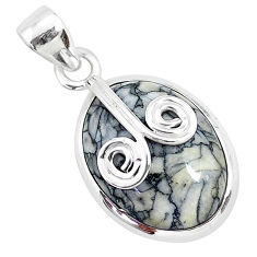 925 sterling silver 12.22cts natural white pinolith oval pendant jewelry r94460