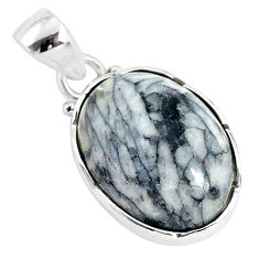 925 sterling silver 14.72cts natural white pinolith oval pendant jewelry r94473