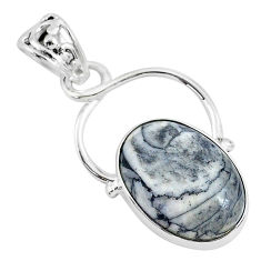 925 sterling silver 14.68cts natural white pinolith oval pendant jewelry r94476