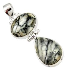 Clearance Sale- 925 sterling silver 21.18cts natural white pinolith pear pendant jewelry d44215