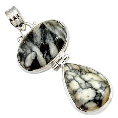 Clearance Sale- 925 sterling silver 20.07cts natural white pinolith pear pendant jewelry d44218