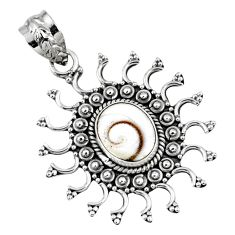 925 sterling silver 4.51cts natural white shiva eye oval pendant jewelry r57772