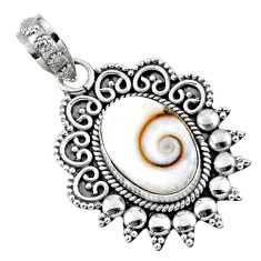 925 sterling silver 5.36cts natural white shiva eye oval pendant jewelry r57813
