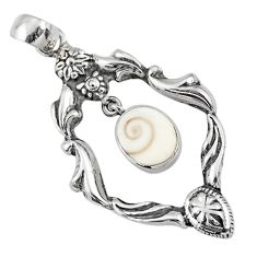 925 sterling silver 4.28cts natural white shiva eye oval pendant jewelry r67571
