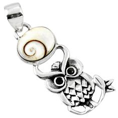 925 sterling silver 5.11cts natural white shiva eye owl pendant jewelry r52924