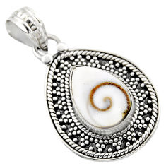 925 sterling silver 5.11cts natural white shiva eye pear pendant jewelry r53193