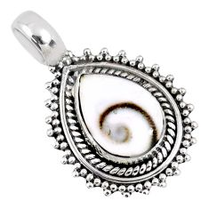 925 sterling silver 2.60cts natural white shiva eye pear pendant jewelry r58092