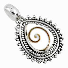 925 sterling silver 2.60cts natural white shiva eye pear pendant jewelry r58116