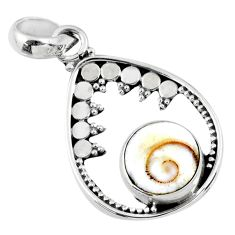 925 sterling silver 3.76cts natural white shiva eye pendant jewelry r57694