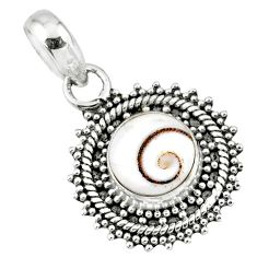 925 sterling silver 3.91cts natural white shiva eye round pendant jewelry r57671