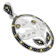 925 sterling silver natural white topaz fine marcasite pendant jewelry c22108