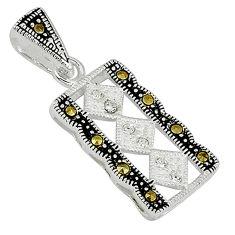 925 sterling silver natural white topaz fine marcasite pendant jewelry c22116