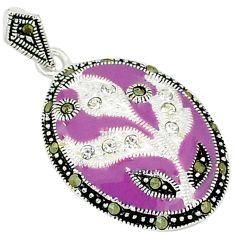 925 sterling silver natural white topaz marcasite enamel pendant jewelry c21966