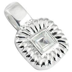 925 sterling silver natural white topaz square pendant jewelry c22761