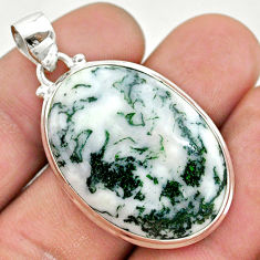 925 sterling silver 26.54cts natural white tree agate oval shape pendant t42785