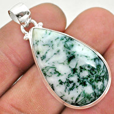 925 sterling silver 20.88cts natural white tree agate pear pendant t42790