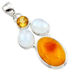 925 sterling silver 13.69cts natural yellow amber bone moonstone pendant d43051