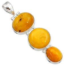925 sterling silver 17.57cts natural yellow amber bone pendant jewelry d43070