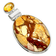925 sterling silver 26.52cts natural yellow brecciated mookaite pendant r31903