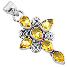 925 sterling silver 9.29cts natural yellow citrine holy cross pendant r55815