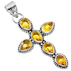 925 sterling silver 6.29cts natural yellow citrine holy cross pendant r55931