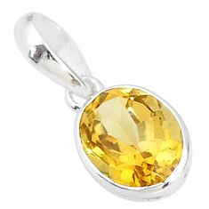 925 sterling silver 1.64cts natural yellow citrine oval handmade pendant t7664