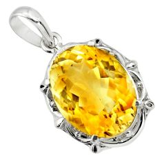 925 sterling silver 12.83cts natural yellow citrine pendant jewelry r25837