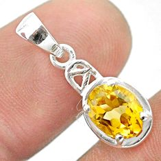925 sterling silver 2.04cts natural yellow citrine pendant jewelry t51384