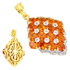 925 sterling silver natural yellow citrine white topaz 14k gold pendant c22151