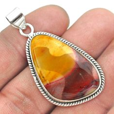 925 sterling silver 19.68cts natural yellow mookaite fancy shape pendant t53774