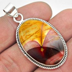 925 sterling silver 22.54cts natural yellow mookaite oval pendant jewelry t53772