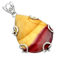 925 sterling silver 28.07cts natural yellow mookaite pear pendant jewelry t31783