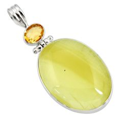Clearance Sale- 925 sterling silver 28.73cts natural yellow olive opal citrine pendant d41409