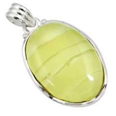 Clearance Sale- 925 sterling silver 25.57cts natural yellow olive opal oval pendant d41419
