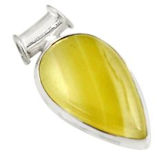 Clearance Sale- 925 sterling silver 19.68cts natural yellow olive opal pear pendant d39304