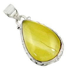 Clearance Sale- 925 sterling silver 15.65cts natural yellow olive opal pear pendant d39310