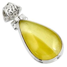 925 sterling silver 16.18cts natural yellow olive opal pendant jewelry d39313