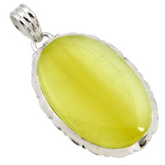 Clearance Sale- 925 sterling silver 30.86cts natural yellow olive opal pendant jewelry d41404
