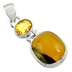 Clearance Sale- 925 sterling silver 14.68cts natural yellow opal citrine pendant jewelry d44573