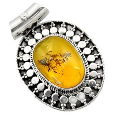 925 sterling silver 12.00cts natural yellow opal fancy pendant jewelry d45036