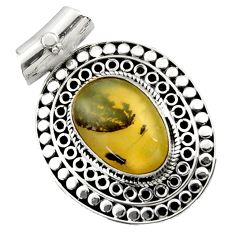Clearance Sale- 925 sterling silver 11.05cts natural yellow opal fancy pendant jewelry d45048