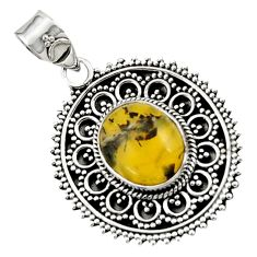 Clearance Sale- 925 sterling silver 6.32cts natural yellow opal fancy pendant jewelry d45056