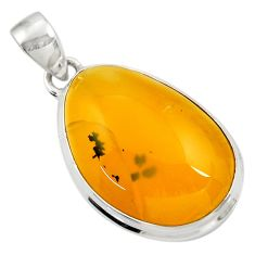 Clearance Sale- 925 sterling silver 15.65cts natural yellow opal pendant jewelry d41892