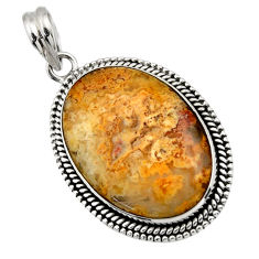 925 sterling silver 24.62cts natural yellow plume agate pendant jewelry r32084