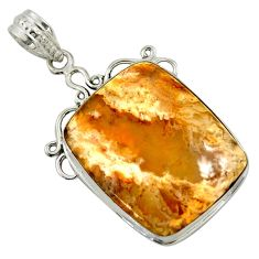 925 sterling silver 19.72cts natural yellow plume agate pendant jewelry r41712